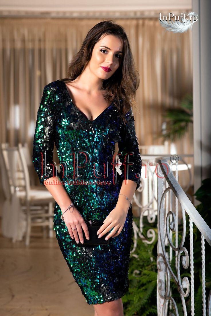Rochie de seara cu paiete verzi