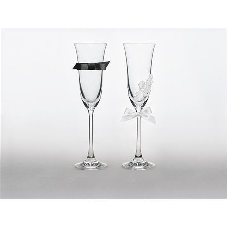 2 stk. Champagneglass - Black and White