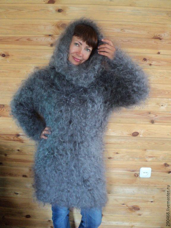 Купить Свитер пуховый Труба - серый, однотонный, пуховый жилет, теплый свитер, зимняя одежда