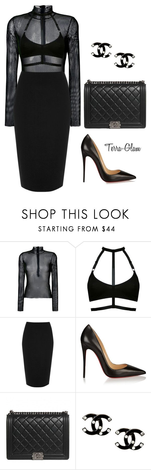 """""""Black Chanel"""" by terra-glam ❤ liked on Polyvore featuring MM6 Maison Margiela, River Island, Christian Louboutin and Chanel"""