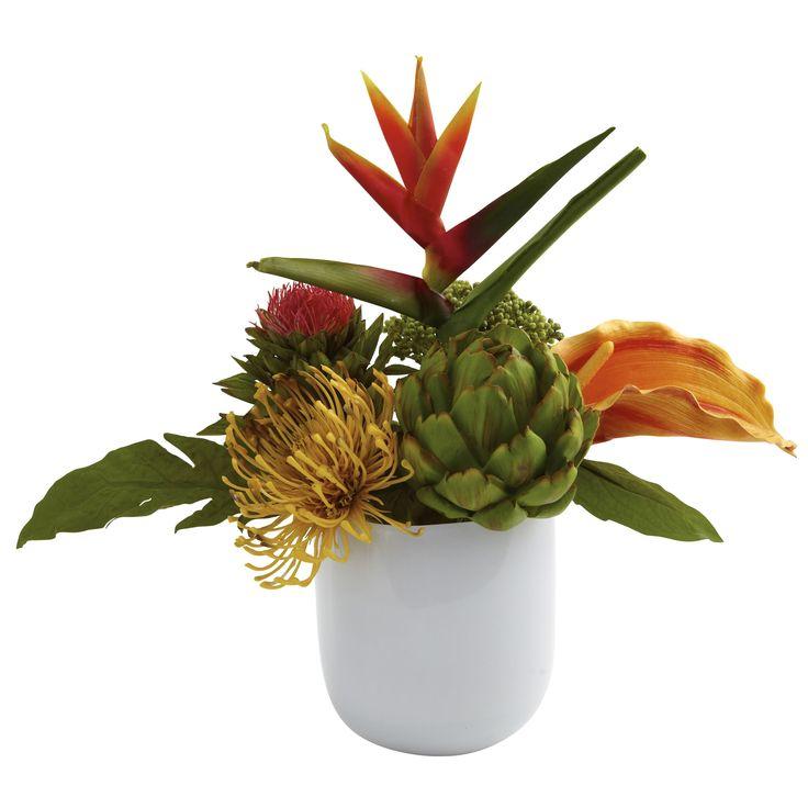 Faux Tropical Floral Arrangement