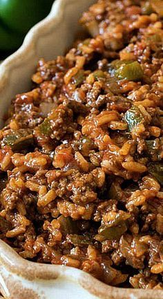 Texas Hash- A quick one-skillet meal made with ground beef, peppers, rice, tomatoes and chili powder.