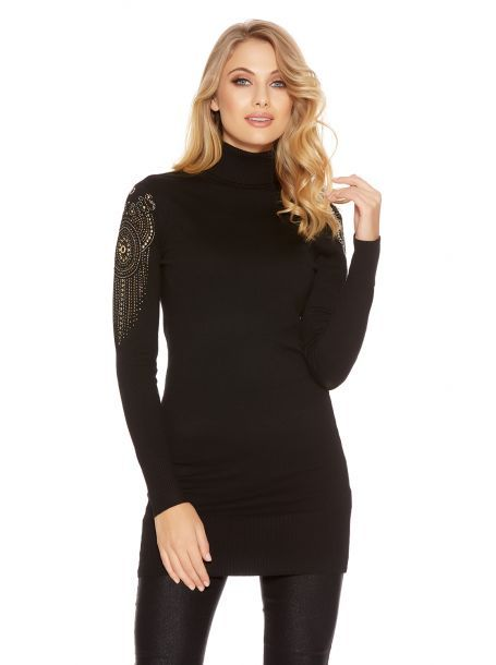Black Light Knit Embellished Sleeve Turtle Neck Jumper Dress