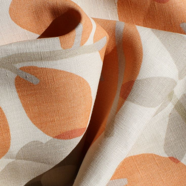 A fresh blend of tangerine orange, taupe and ivory cream with a few bits of soft sage green. Perfect for drapes, curtains, roman blinds, cushions, pillows, bedd