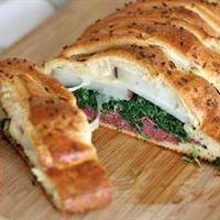 #Irish bread braid, stuffed with corned beef, spinach, potatoes and cheese. Better than a sandwich!