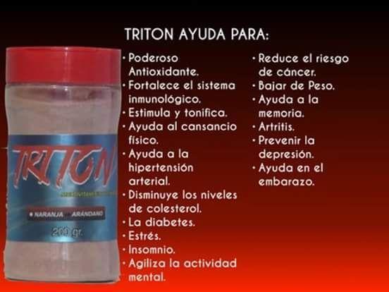 """NUTRIENTE """"TRITON"""" -PODEROSO ANTIOXIDANTE -ESTIMULA Y TONIFICA -FORTALECE EL SISTEMA INMUNOLOGICO -AYUDA AL CANSANCIO FÍSICO-DIABETES-ESTRÉS-INSOMNIO -AYUDA A LA HIPERTENSION ARTERIAL-ARTRITIS -AGILIZA LA ACTIVIDAD MENTAL-REDUCE EL RIESGO DE CÁNCER -PREVIENE LA DEPRESIÓN - AYUDA EN EL EMBARAZO -DISMINUYE LOS NIVELES DE COLESTEROL - BAJA DE PESO -AYUDA A LA MEMORIA."""