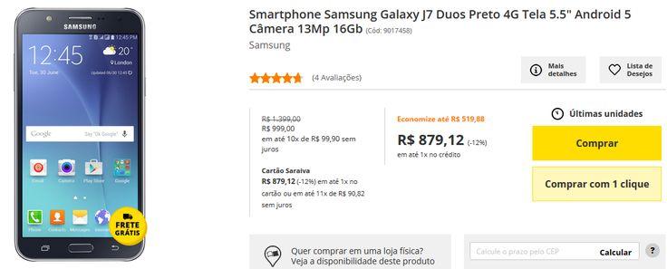 "Samsung Galaxy J7 Duos Preto 4G Tela 5.5"" Android 5 Câmera 13Mp 16Gb >"