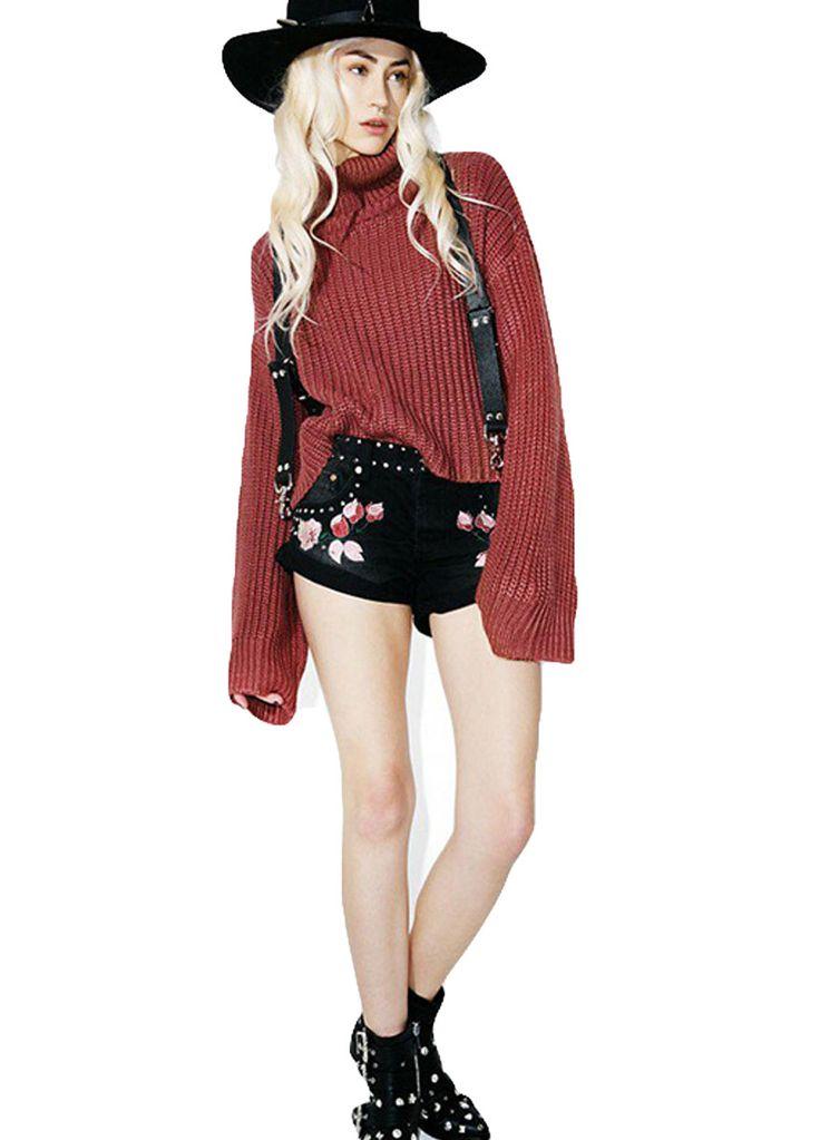 Rivets Detail Black Wash Denim Embroidery Punk Shorts_Denim Shorts Jeans_Women Jeans_Sexy Lingeire | Cheap Plus Size Lingerie At Wholesale Price | Feelovely.com