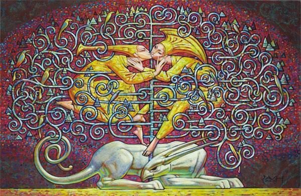 Для В. Хапова жизнь - это игра, в которой всего не расскажешь. Эта игра трудно разгадывается, но играют в нее внешне красивые люди. Они прекрасны в прямом смысле этого слова, это великая и светлая пластика, и Василий несет ее на своих плечах, и у него это не просто очередной цикл работ, а цельное мировоззрение и жизненное кредо, которое несет он вопреки нарастающему обвалу новейших течений в искусстве, отрицающих долговременность холста, его фактурную обработку, неугасающую ценность…