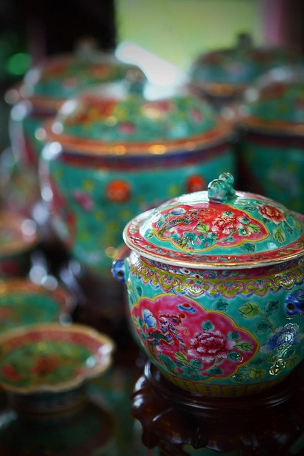 "Green ""Peranakan"" porcelain from the Straits Settlements of Malaya."