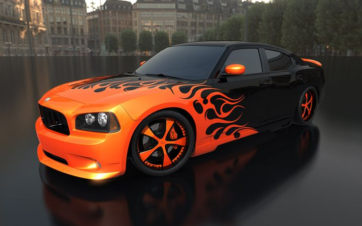 cars charger orange dodge charger black fantasy wheels car paint