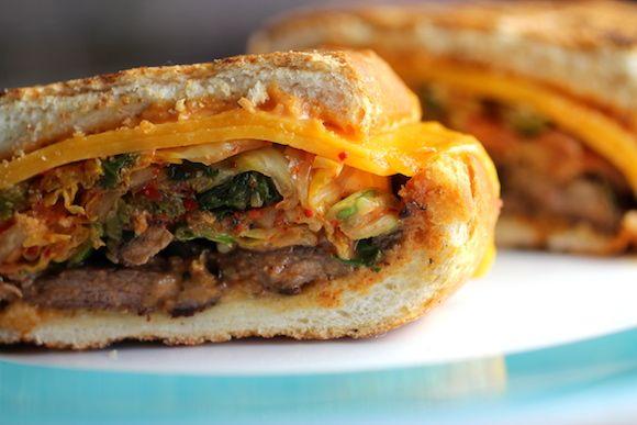 Korean-Italian Sandwich ~ Bulgogi Panino ~ beef, kimchi, cheddar, ssamjang mayo