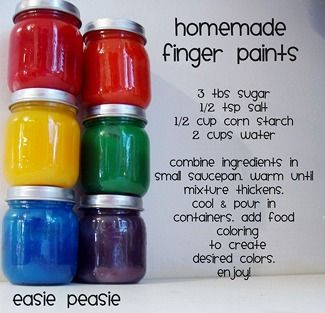 DIY finger paints for toddlers-- sugar, salt, corn starch-- easy!
