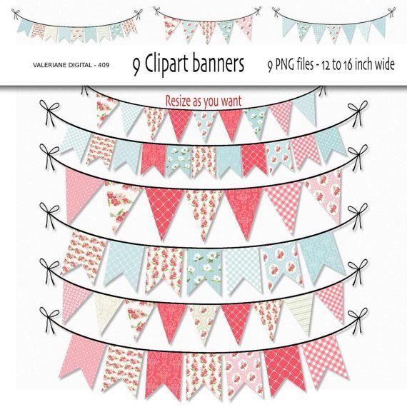 Chique gasto Digital clipart bunting, clip art, clipart floral para convites, scrapbooking - 9 arquivos PNG - Download imediato Pacote 409