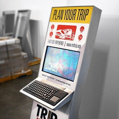 This tablet kiosk helps people plan trips and provides departure times!