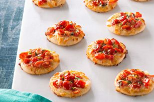 Mini Margherita Pizzas Recipe - Kraft Recipes LOVE this idea, and you could use any toppings!