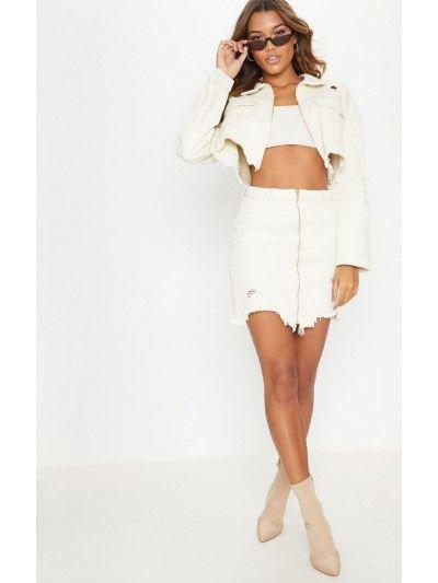 9b1d934155a Ecru Distressed Zip Front Denim Skirt