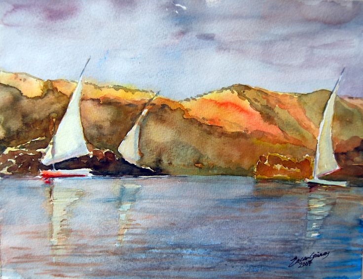 Feluccas on the Nile EGYPT-Watercolor on Canson 24cmx35cm