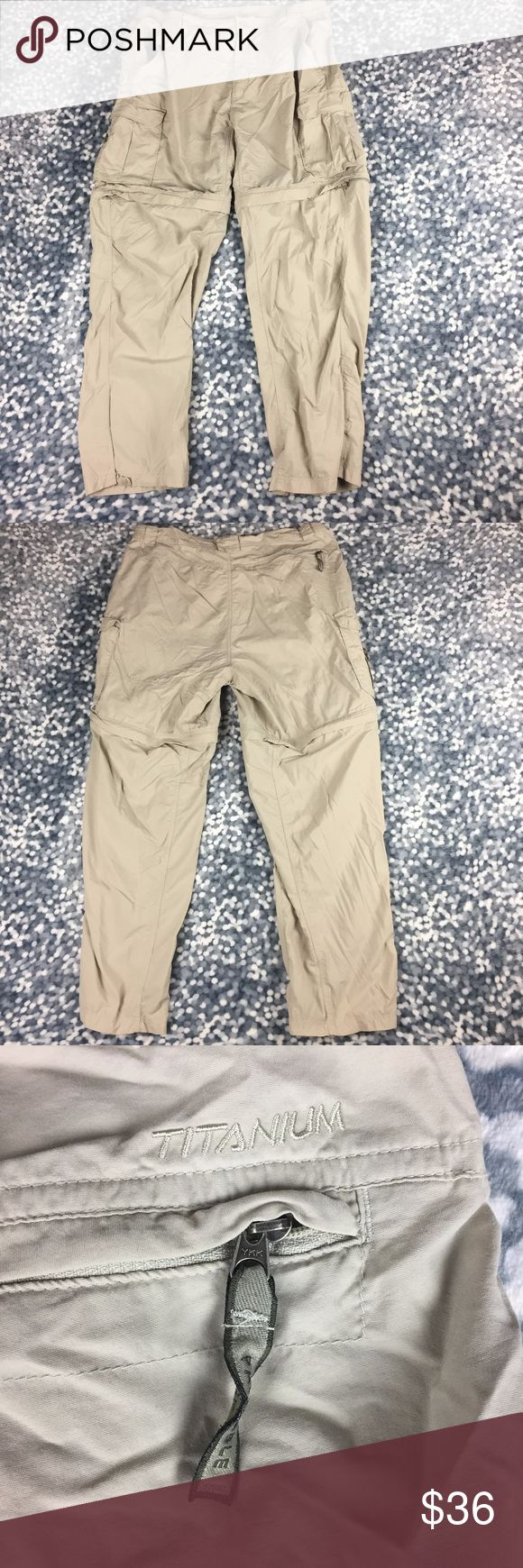 Columbia Sportswear Titanium Khaki Convert 90A8 Columbia Sportswear Titanium Khaki Tan Convertible Zip Off Pants Shorts Cargo Large.  Waist measures 18 inches unstretched, inseam measures 32 inches (all measurements one side laying flat). Columbia Sportswear Shorts Athletic