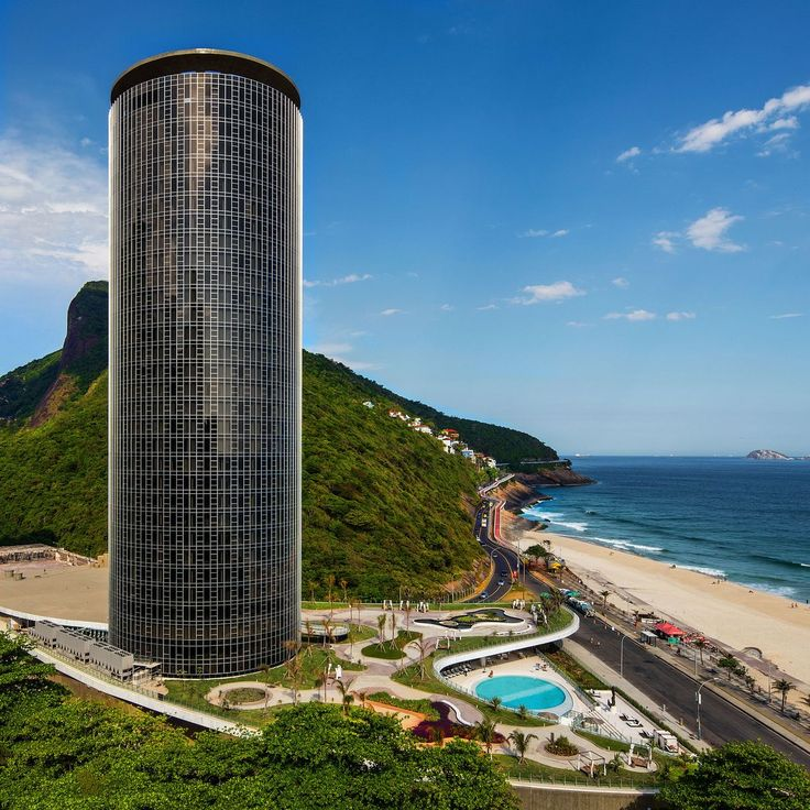 A cylindrical-shaped, 34-storey skyscraper designed by world-famous Brazilian architect Oscar Niemeyer