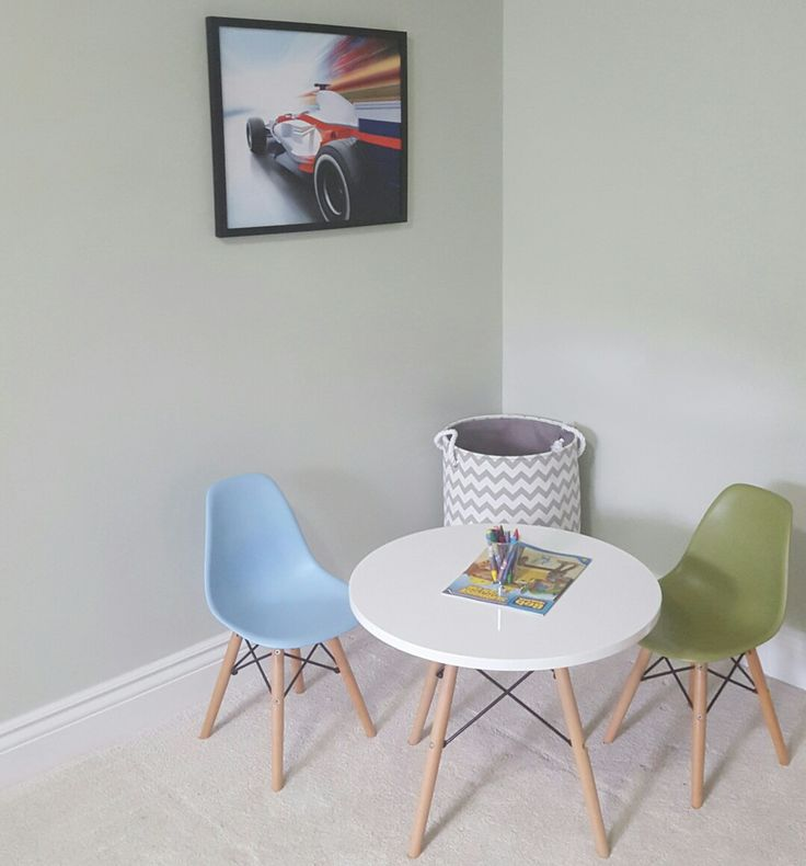 My boys bedroom! Mid century modern toddler Eames eiffel table & chairs.