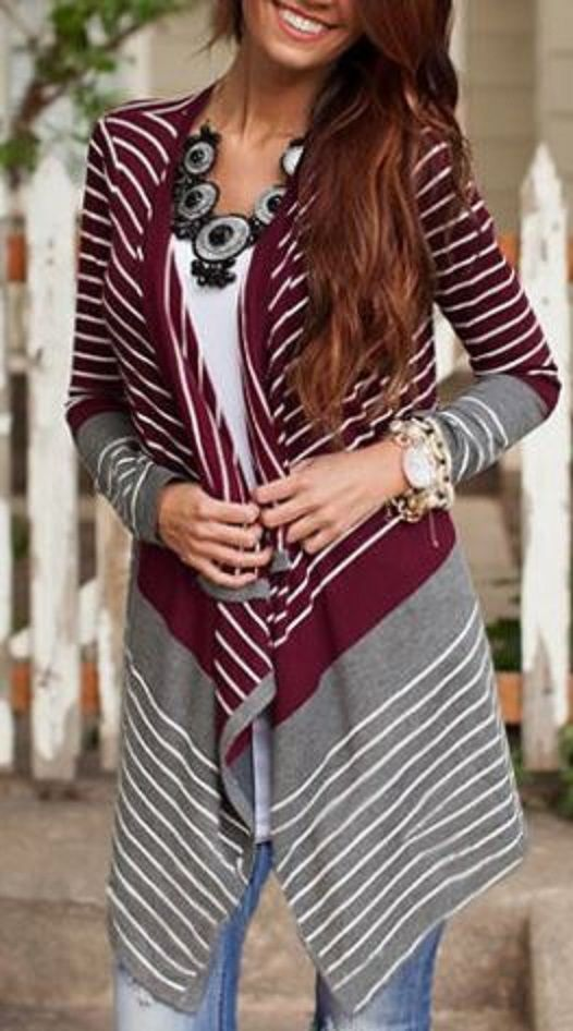 Love this Wine Pairing! Grey + Wine Trendy Collarless Long Sleeve Stripe Asymmetrical Women's Cardigan #Wine #Grey #Stripe #Casual #Fall #Fashion #Cardigan #Black #Accessories