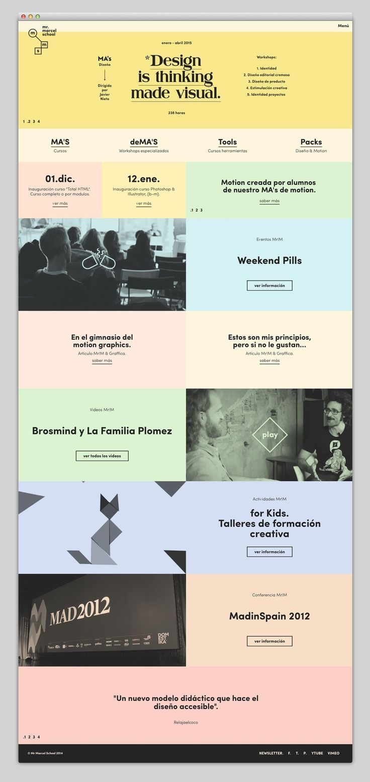 mr. marcel school - Web Design - Website, Grid, Blocks, Flat, Typographic, Pastel Colors