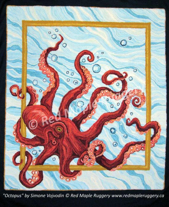 OCTOPUS Pattern For Rug Hooking/ Punch Needle on MONKS CLOTH