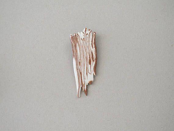 Brown and white brooch ceramic brooch modern ceramics