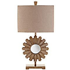 Sunburst Lamp From Pier The Linen Burlap Type Of Shade On This Says Casual While Antique Gold And Mirrored Bring Elegance