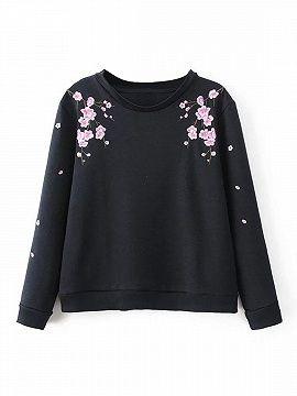Sudadera Bordado Floral Negra