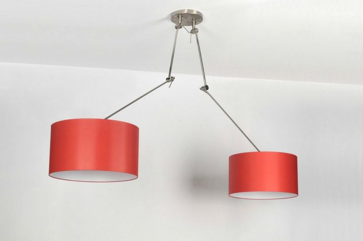 hanglamp 30099: modern, klassiek, design, staal , rvs, stof, rood, rond ...