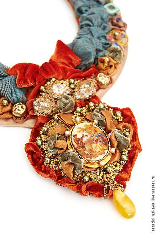 """Купить Колье №33.""""Медальон"""". - рыжий, терракотовый, колье в стиле бохо, бохо, бохо-стиль"""