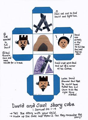Flame: Creative Children's Ministry: Saul and David story cube (1 Samuel 24)- Print out and make!