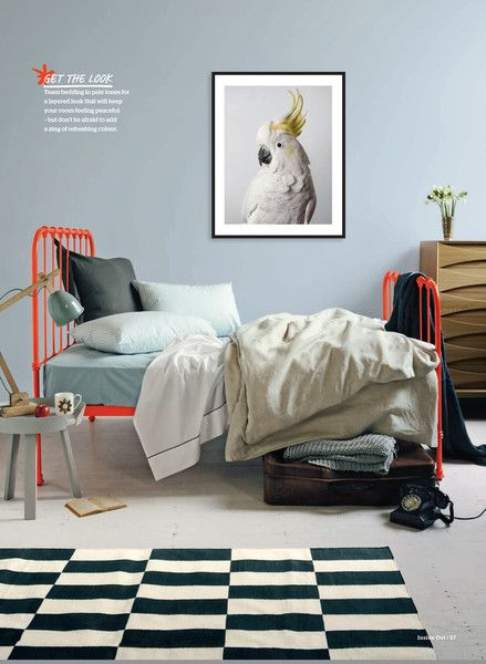 Fluro wrought Iron tilly bed, by Scout. You can find it at www.scouthouse.com.au