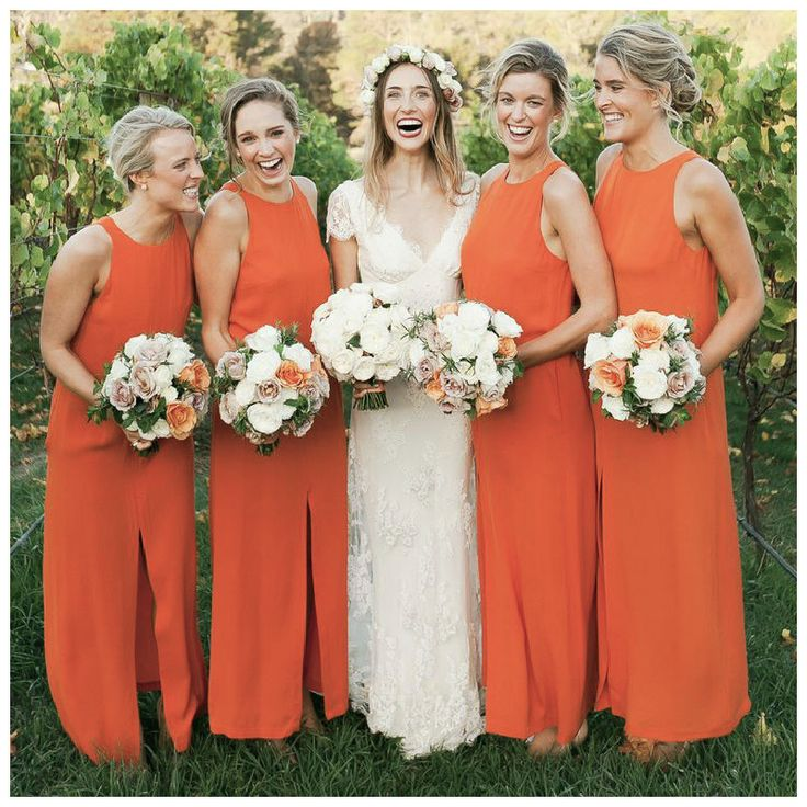 Damas de honor en color #Tangerine #Mandarina #Bridesmaid #dress #Wedding #YUCATANLOVE