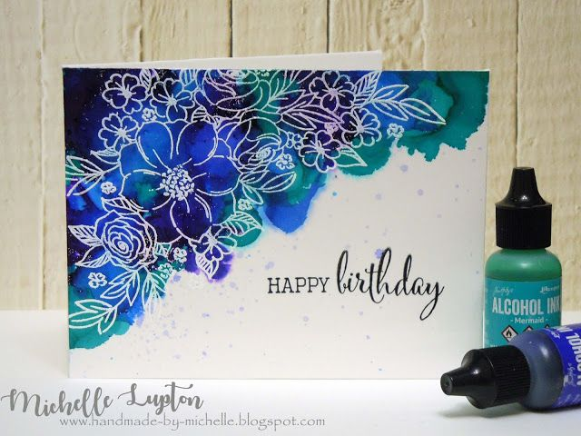 Handmade by Michelle: Alcohol ink on glossy cardstock