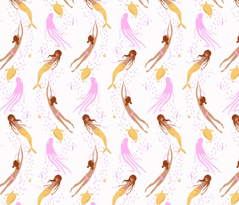 UNDERWATERSISTERS_ss fabric by heatherross on Spoonflower - custom fabric - Girls Room