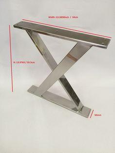Patas de acero inoxidable X marco pulidas. Altura: 13 pulgadas 9763 / 355mm Ancho: 13,3858 / 340mm Tubo cuadrado de acero inoxidable: 10 / 50mm Por