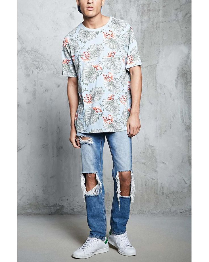 Buy Forever 21 Men's Blue Tropical Print Crew Neck Tee, starting at $12. Similar products also available. SALE now on!