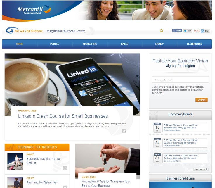 Website for Mercantil Commercebank