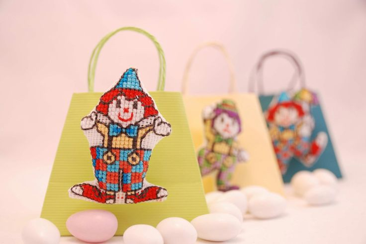 Clown brooches. Boys Christening Favors 10pcs. Μπομπονιερες. Cross stitch Party favors bags. baby shower favor. FREE SHIPPING. Madetoorder by MeandMamaCreations on Etsy