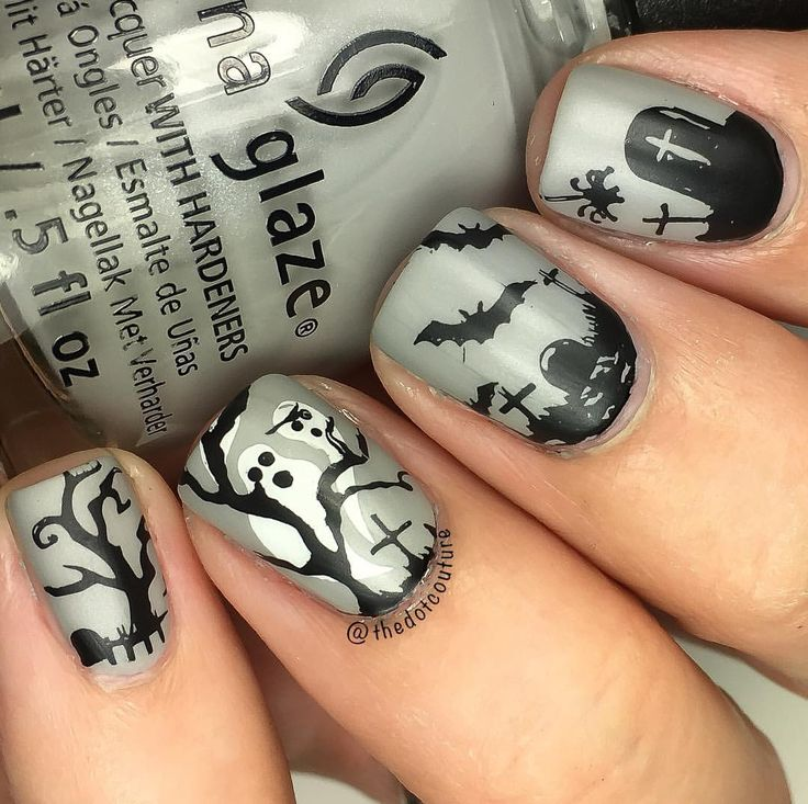 Ghosts and graveyards Halloween nail art