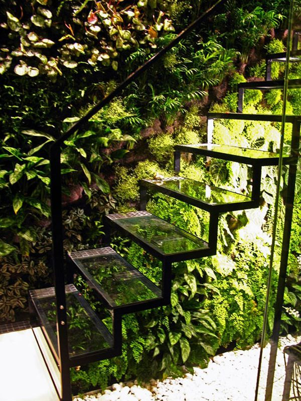 A glass staircase and living wall in Patrick Veillet's Paris studio. Designed by Vertical Garden's Patrick Blanc.