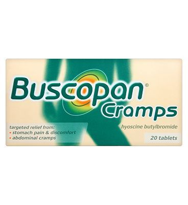 Buscopan Cramps - 20 Tablets 10103149 16 Advantage card points. Buscopan Cramps: targeted relief for stomach pain  discomfort, abdominal cramps. Each tablet contains hyoscine butylbromide 10mg.See details below, always read the label FRE http://www.MightGet.com/february-2017-1/buscopan-cramps--20-tablets-10103149.asp