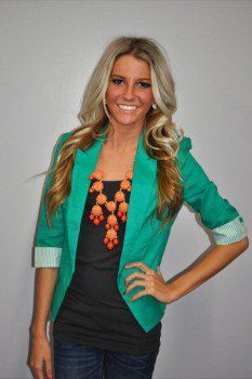 Love the bright blazer with the black shirt underneath.
