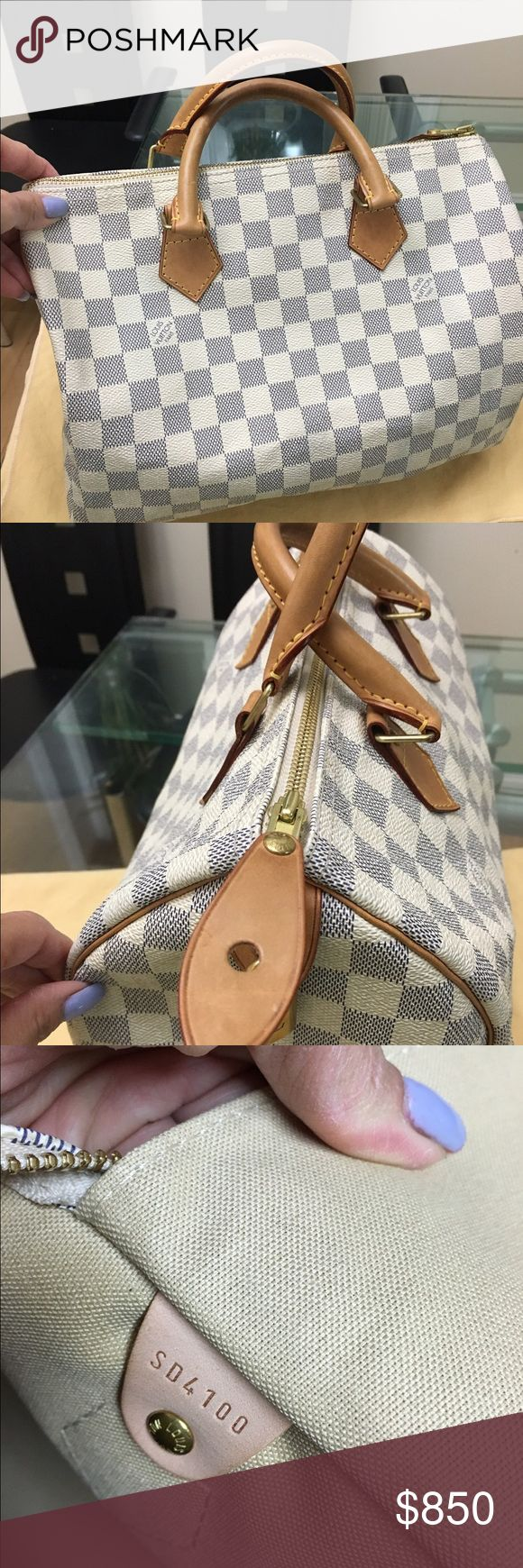 Authentic pre owned Louis Vuitton Speedy 30 Azur Authentic pre owned Louis Vuitton Speedy 30 Damier Azur , good condition , no tear or scuff , signs of wear lightl stain but not noticeable interior , handle still in honey color , great spacious bag , still lots of life to this bag . No Trade!! Serious Buyer Welcome !! Louis Vuitton Bags Satchels