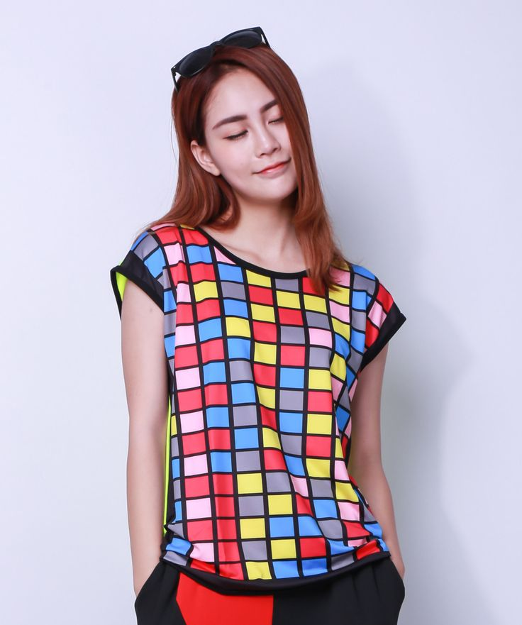 Kids Adult hip hop top dance female Contrast Neon Colorful Women Girls costume performance colorful plaid t-shirts #Affiliate