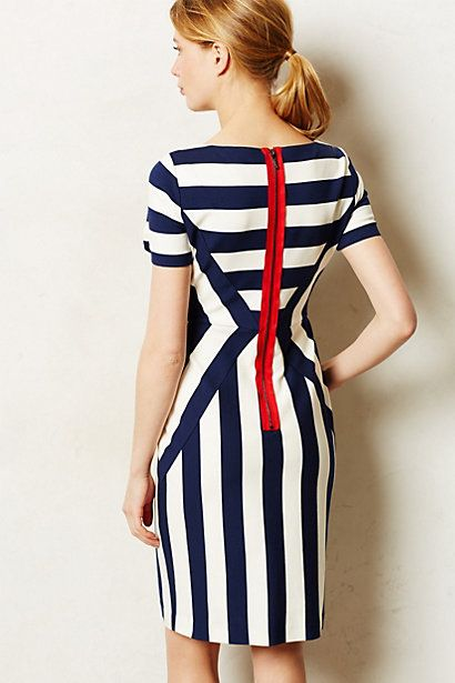 Bias + straight grain stripe dress with contrasting exposed zipper - Anthropologie
