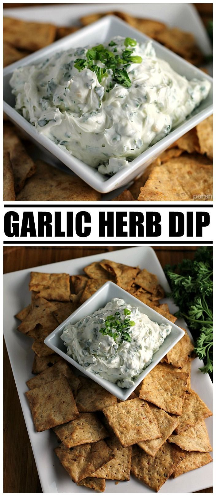 Garlic Herb Dip starts with a cream cheese base then is filled with fresh herbs and takes only 10 minutes to put together. Paired with Van's Simply Delicious® Crackers, it makes the perfect snack for your next party. | Persnickety Plates ad
